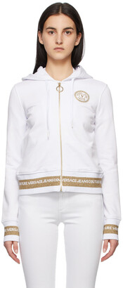 Versace Jeans Couture White V Emblem Hoodie