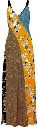 Diane von Furstenberg Paneled Printed Silk Maxi Dress