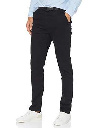 "Jacamo Men's Smart Belt Chino 31"" Regular Trousers, (Black 001), (Size:44R)"