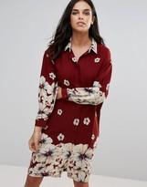 Love Oversized Shirt Dress In Border Print