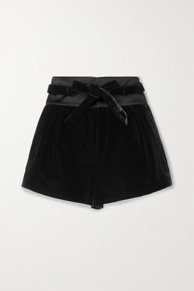 Saint Laurent Satin-trimmed Velvet Shorts - Black