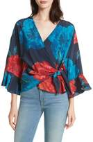Tracy Reese Floral Surplice Silk Blouse