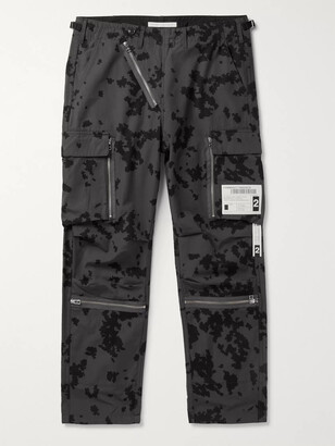 Neighborhood Embellished Printed Cotton-Ripstop Cargo Trousers - Men - Gray