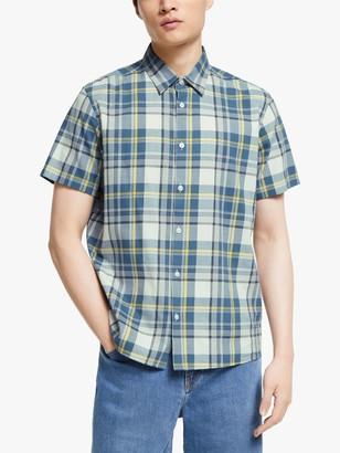KIN Neon Check Short Sleeve Shirt, Blue