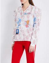 Ground Zero Patch appliqué floral-print silk-crepe de chine shirt