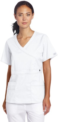 Dickies Scrubs Women's Gen Flex Junior Fit Contrast Stitch Mock Wrap Shirt