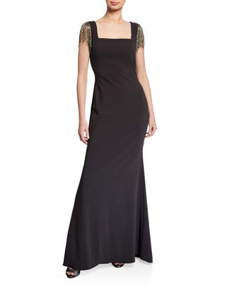 Badgley Mischka Square-Neck Beaded Fringe Sleeve Crepe Gown