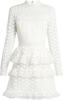 Self-Portrait High-neck star-lace tiered mini dress