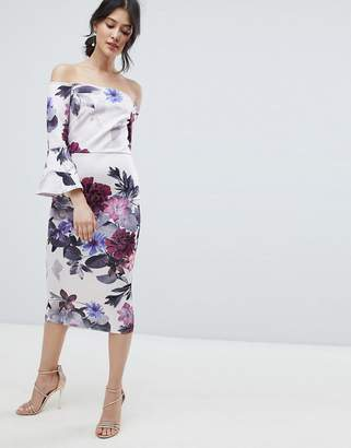 True Violet bardot midi dress with frill sleeve in foral print-Multi