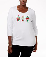 Karen Scott Plus Size Holiday Graphic Top, Only at Macy's