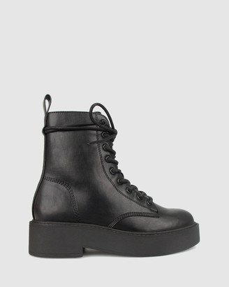 betts Women's Black Lace-up Boots - Hero Lace Up Chunky Boots - Size One Size, 7 at The Iconic