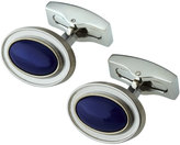 Hickey Freeman Rhodium-Plated Oval Lapis Cabochon Cuff Links, Blue