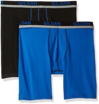 Gildan Men's Long Leg Stretch Polyester Athletic Boxer Briefs 2-Pack