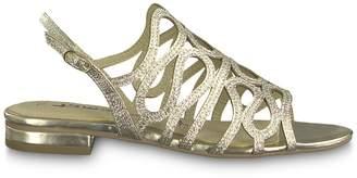 Tamaris Ayn Metallic Flat Sandals with Sling-Back