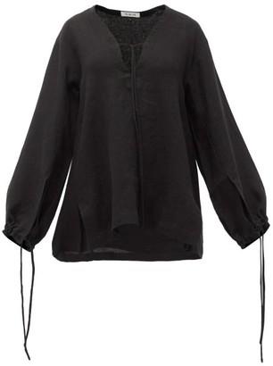 Fil De Vie Essaouira Balloon-sleeved Linen Top - Black