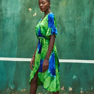 Moto Moto - Tie Dye Wrap Dress 10 - tu | cotton | 1 | blue green - Blue green
