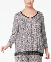 Ellen Tracy Plus Size Contrast-Trimmed Printed Pajama Top