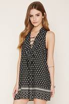 Forever 21 Geo Print Lace-Up Mini Dress