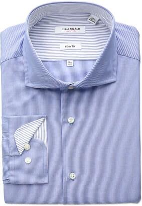 Isaac Mizrahi Men's Slim Fit Fine Stripe Cut Away Collar Dress Shirt
