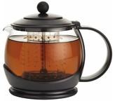 "Bonjour Tea ""Prosperity"" Borosilicate Glass Teapot with Plastic Frame Black"