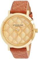 Stuhrling Original Women's Quartz Watch with Gold Dial Analogue Display and Brown Leather Strap 462.02