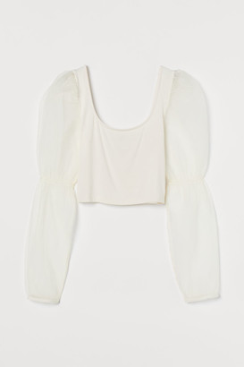 H&M Short Puff-sleeved Top - White