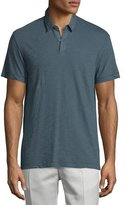 Theory Dennison Short-Sleeve Slub Polo Shirt, Dark Theorist
