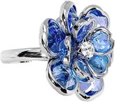 Body Candy Small Blue Faceted Blooming Flower Adjustable Ring