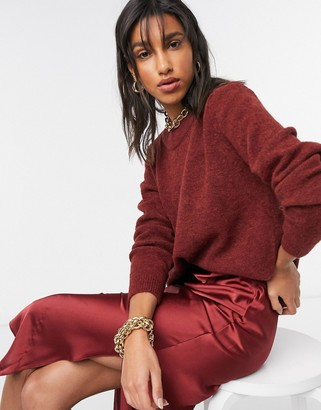 ASOS DESIGN oversize jumper with crew neck in dark red