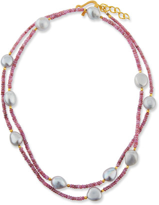 Dina Mackney Long Sapphire & Baroque Pearl Necklace