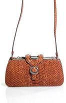 Tod's Medium Brown Snakeskin Multi-Pocket Small Silver Buckle Crossbody Handbag