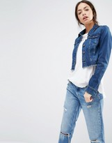 Only Cropped Raw Edge Denim Jacket
