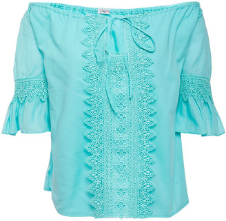 Charo Ruiz Ibiza Off-the-shoulder Crocheted Lace-trimmed Cotton-blend Voile Top