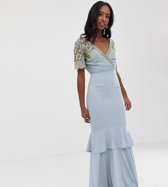 Virgos Lounge Tall plunge front embellished tiered maxi dress with train in ice blue