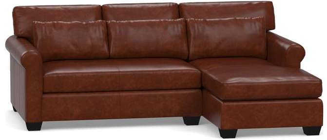 York Roll Arm Deep Seat Leather Chaise Sofa Sectional