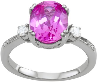 Charles & Colvard 14k White Gold Lab-Created Pink Sapphire & 3 5/8 Carat T.W. Lab-Created Moissanite Oval Ring