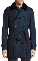 Burberry Gabardine Modern-Fit Trench Coat with Shearling Top-Collar, Teal Blue