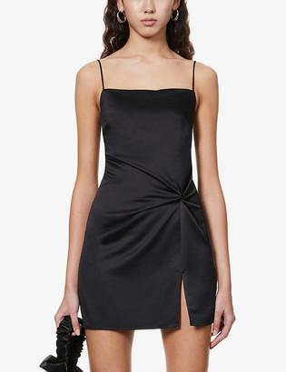 Topshop Twist-front satin-crepe mini dress