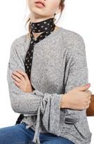 Topshop Women's Tie Sleeve Marled Tee