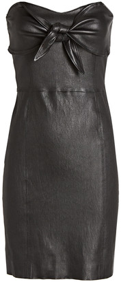Sprwmn Leather Knotted Strapless Mini Dress
