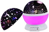 Baby Night Light,SCOPOW Dimmable Rotation Night Lamp Rotating Universe Sky Moon Sun Star Night Lighting Nursery Projector Gift for Decor Kids Bedroom Sleepy (Pink)