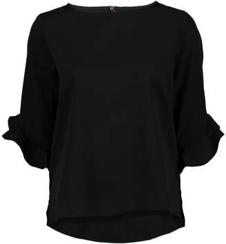 Très Jolie Women's Blouses Black - Black Ruffle Three-Quarter Sleeve Top - Women