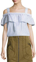 Veronica Beard Lacey Striped Cold-Shoulder Top, Blue/White