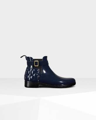 Hunter Women's Refined Slim Fit Quilted Gloss Chelsea Boots