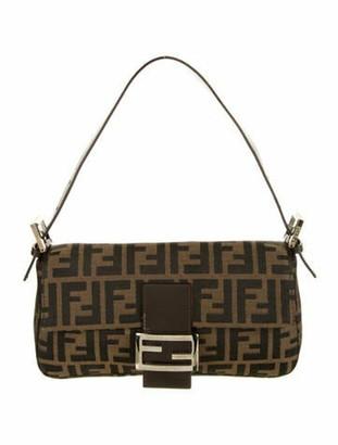 Fendi Leather-Trimmed Zucca Baguette Brown