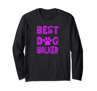 Best Dog Walker with Puppy Paw Print Long Sleeve T-Shirt