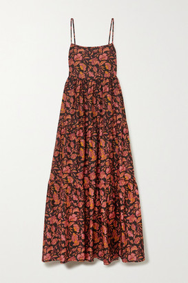 Matteau Open-back Tiered Floral-print Cotton-poplin Maxi Dress - Claret