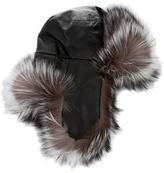 J. Mendel Fox-Trimmed Leather Trapper Hat