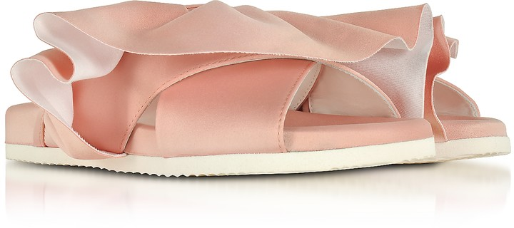 Thumbnail for your product : Joshua Sanders Pink Satin Ruffle Slide Sandals