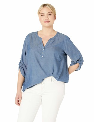 NYDJ Women's Plus Size Henley Popover TOP